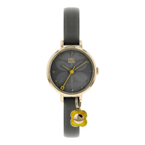 Orla Kiely Grey/Gold Quartz Flower Watch