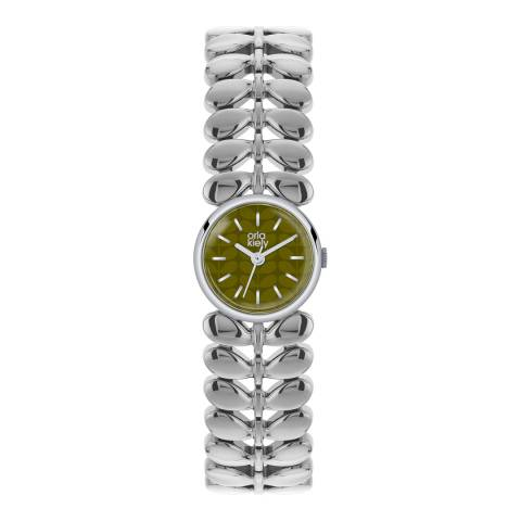 Orla Kiely Silver/Olive Green Quartz Leaf Watch