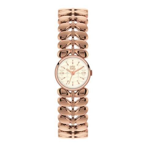Orla Kiely Silver/Rose Gold Quartz Leaf Watch