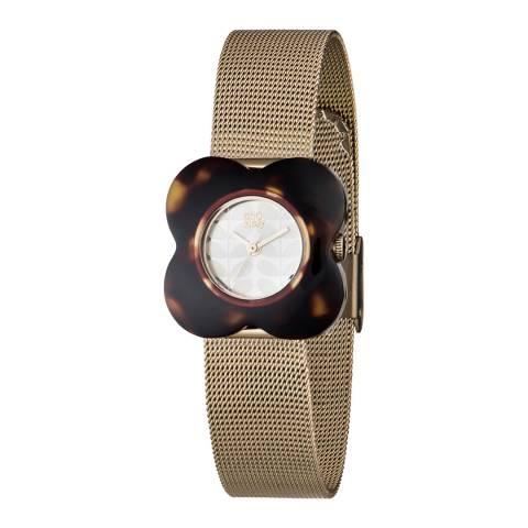 Orla Kiely Poppy Tortoiseshell Case Gold Mesh Bracelet Watch