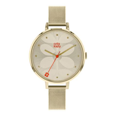 Orla Kiely Cream Gold Plated Quartz Watch