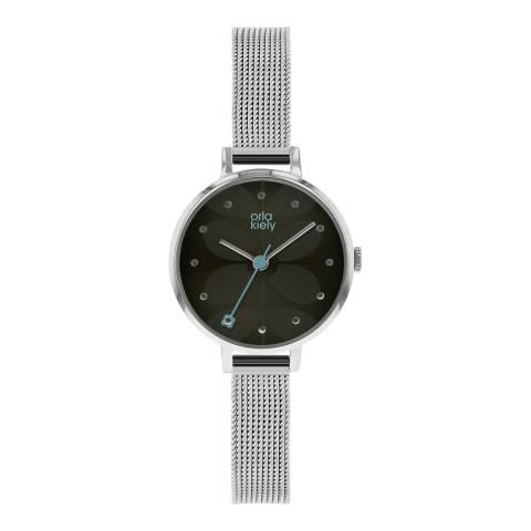 Orla Kiely Black/Silver Stainless Steel Quartz Watch