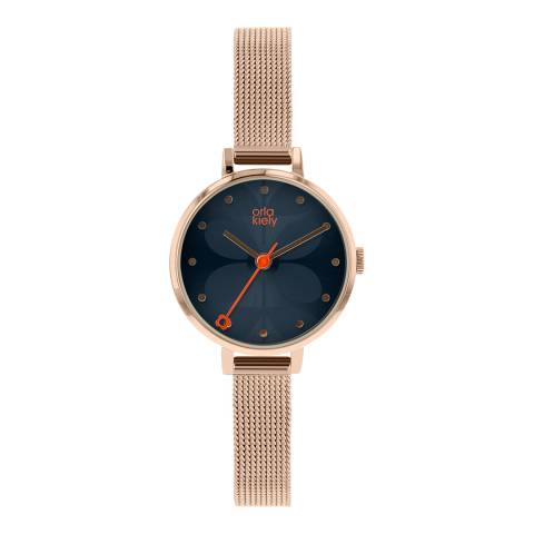 Orla Kiely Blue/Rose Gold Quartz Watch