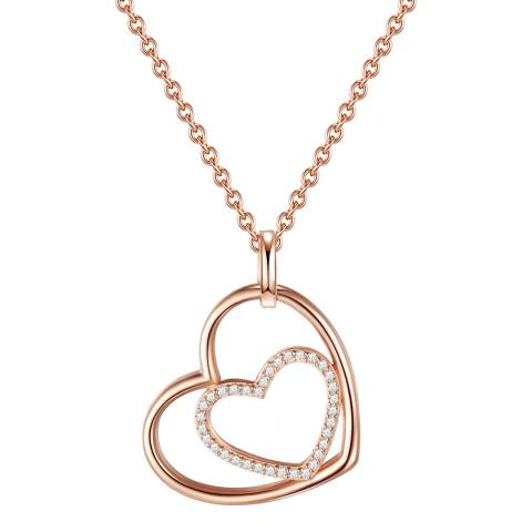 Carat 1934 Rose Gold/Silver Pendant Heart Necklace