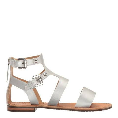 Geox Women's Silver Leather Gladiator Sandals