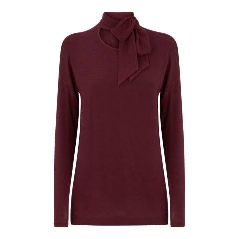 Jaeger Burgundy Tie Neck Jersey Wool Blend Top