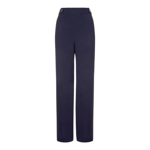 Jaeger Navy Cropped Palazzo Trousers