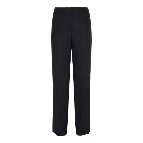 Jaeger Navy Parallel Leg Linen Trousers