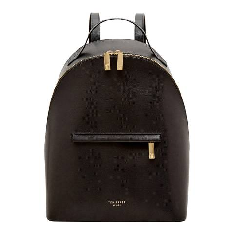 Ted Baker Womens Black Leather Jarvis Mini Grain Backpack