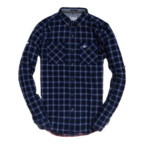 Superdry Navy/Grey Check Grindlesawn Cotton Shirt