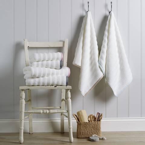 Behrens Ribbed Border Pair of Hand Towels, Natural