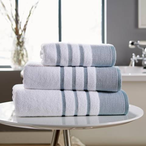 Behrens Pintuck Pair of Hand Towels, Duck Egg