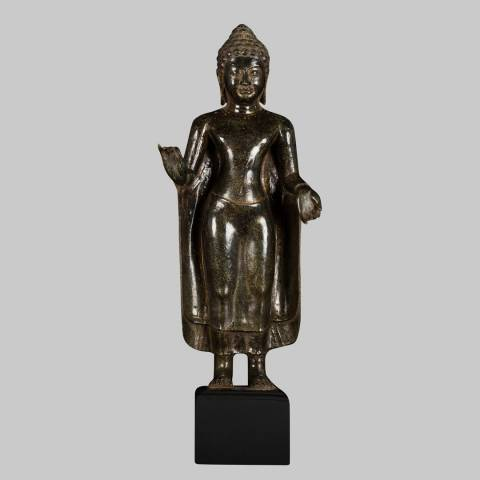 Eastern Treasures Antique Thai Style Bronze Abhaya Mudra Protection Buddha Statue