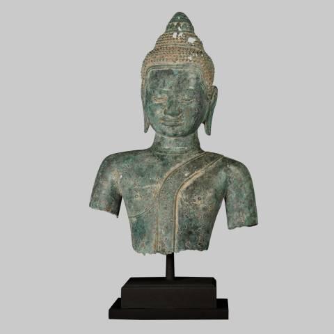 Eastern Treasures 19th Century Antique Southeast Asia Khmer Buddha Torso Statue