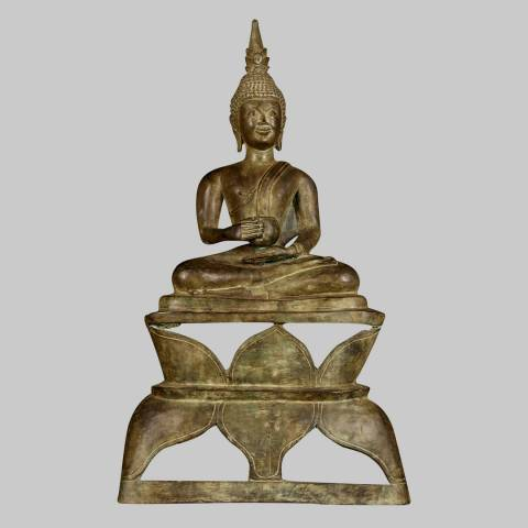Eastern Treasures 19th Century Antique Laos Charity Gautama Buddha Statue
