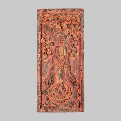 Eastern Treasures Antique Thai Style WallArt Thoughtful Sunday Buddha Wood Panel