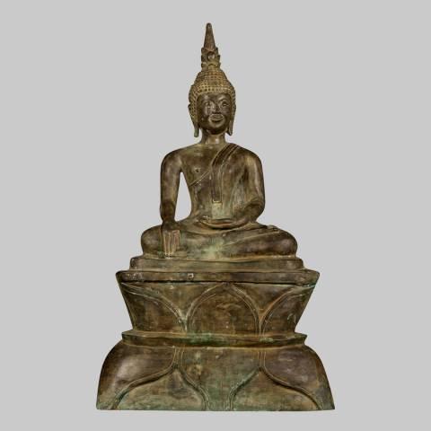 Eastern Treasures 19th Century Antique Laos Enlightenment Gautama Buddha Statue