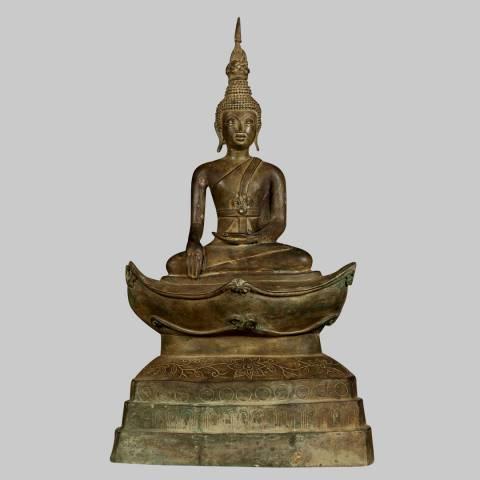 Eastern Treasures 19th Century Antique Laos Enlightenment Buddha Statue