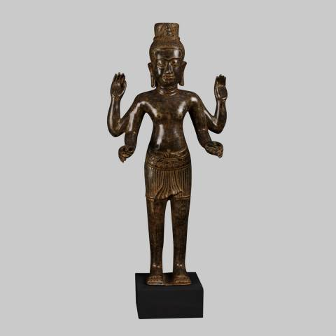 Eastern Treasures Antique Khmer Style Bronze Vishnu Statue Protector & Preserver