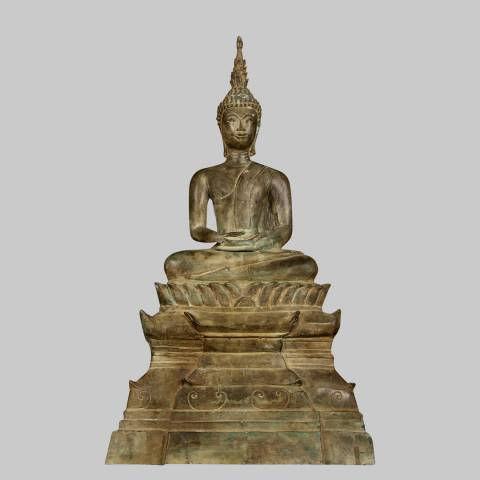 Eastern Treasures Antique 19th Century Southeast Asia Laos Meditation Buddha Statue