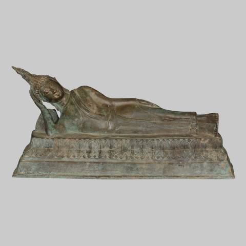 Eastern Treasures Antique Thai Style Sukhothai Reclining Nirvana Buddha Statue
