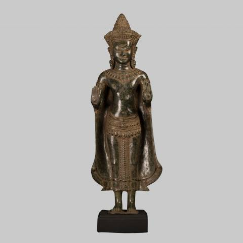 Eastern Treasures Antique Khmer Style Bronze Protection Standing Buddha Statue