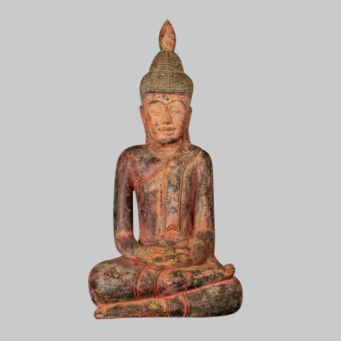 Eastern Treasures Antique Khmer Style South East Asia Wood Meditation Buddha Statue