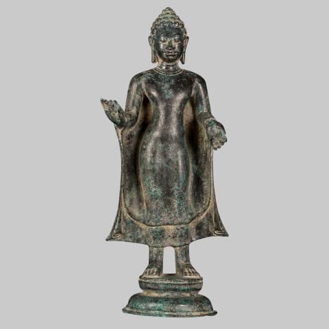 Eastern Treasures Antique Thai Style Dvaravati Standing Preaching Buddha Statue