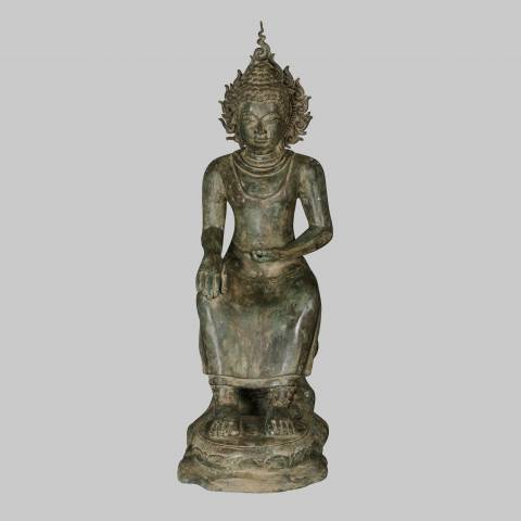Eastern Treasures 19th Century Antique Thai Seated Preaching Buddha Statue