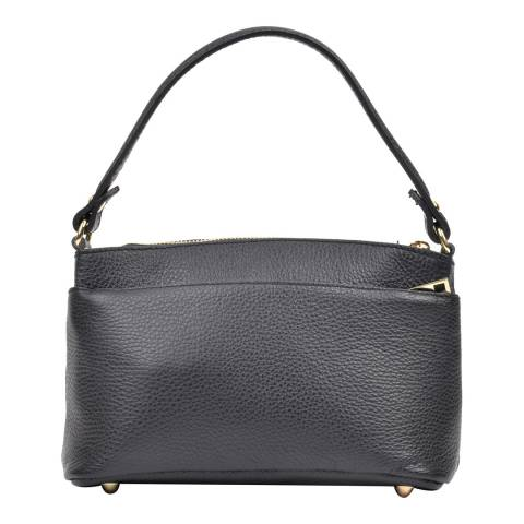Luisa Vannini Black Leather Top Handle Bag