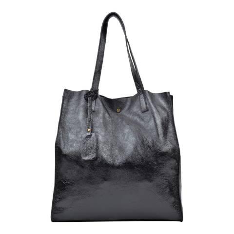 Luisa Vannini Black Leather Shopper Bag