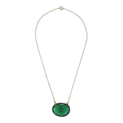 Liv Oliver Emerald Diamond Pendant Necklace