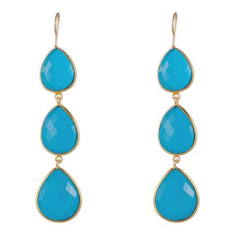Liv Oliver Gold Turquoise Drop Earrings
