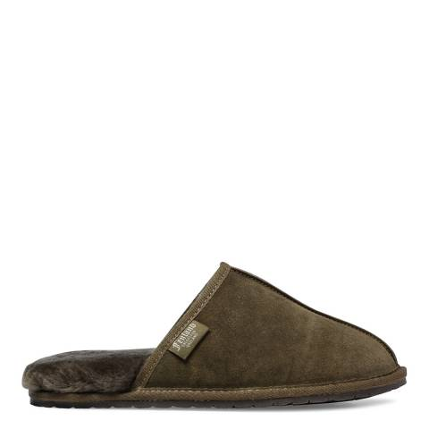 Fenlands Sheepskin Men's Green Sheepskin Mule Slipper
