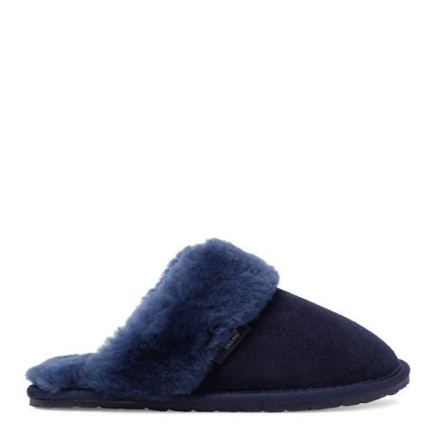 Fenlands Sheepskin Women's Navy Sheepskin Mule Slipper