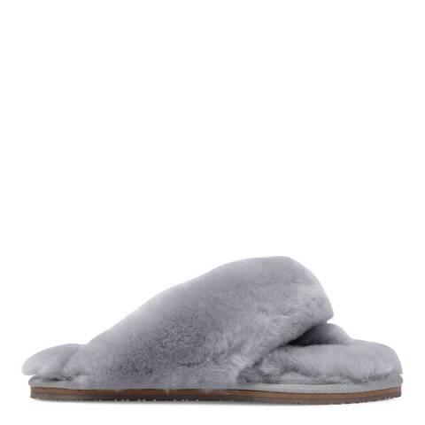 Fenlands Sheepskin Women's Grey Sheepskin Flip Flop Slipper