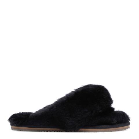 Fenlands Sheepskin Women's Black Sheepskin Flip Flop Slipper