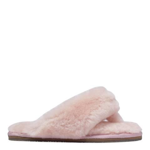 Fenlands Sheepskin Women's Baby Pink Sheepskin Flip Flop Slipper