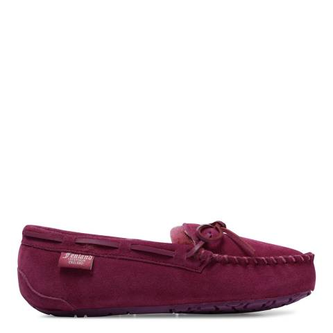 Fenlands Sheepskin Women's Plum Sheepskin Moccasin Slipper