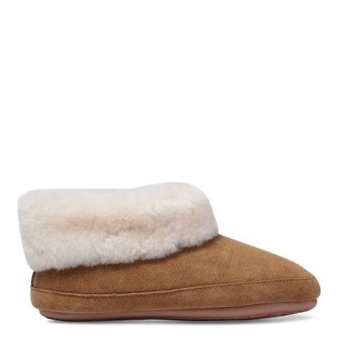 Fenlands Sheepskin Women's Chestnut Sheepskin Bootie Slipper