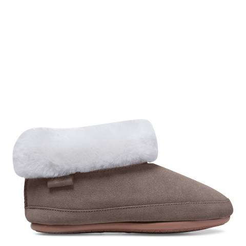 Fenlands Sheepskin Women's Light Grey Sheepskin Bootie Slipper