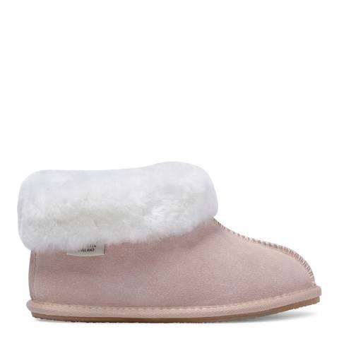 Fenlands Sheepskin Kids Baby Pink and White Bootie Slipper