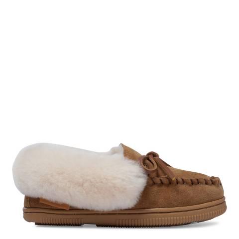 Fenlands Sheepskin Kids Chestnut Moccasin Slipper