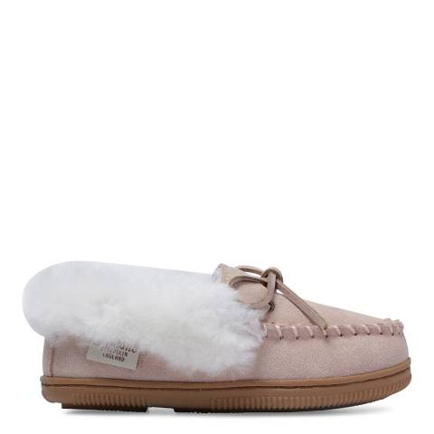 Fenlands Sheepskin Kids Baby Pink and White Moccasin Slipper