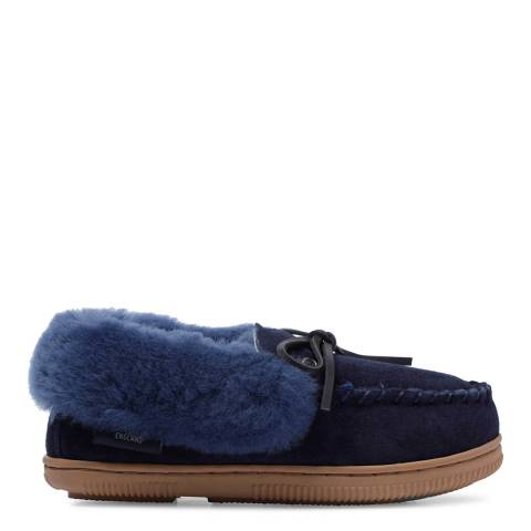 Fenlands Sheepskin Kids Navy Moccasin Slipper