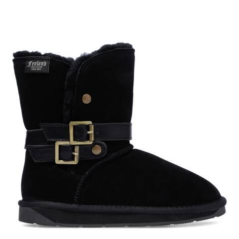 Fenlands Sheepskin Black Sheepskin Double Buckle Boots