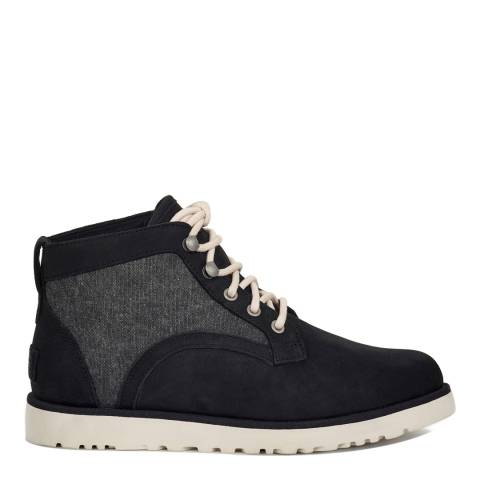 UGG Women's Black Canvas Bethany Lace Up Sheepskin Ankle Boot
