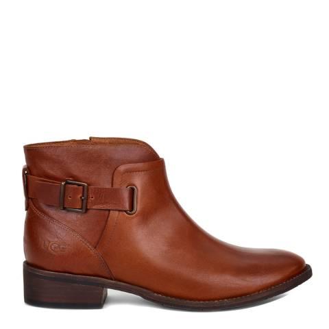 UGG Women's Chestnut Brown Barnett Leather Ankle Boot
