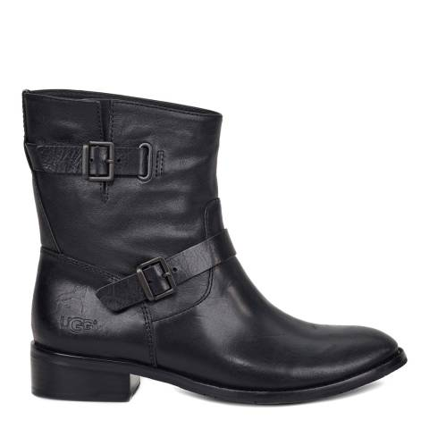 UGG Women's Black Leather Fletcher Ankle Boot
