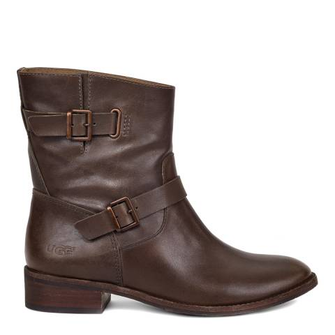 UGG Women's Walnut Brown Leather Fletcher Ankle Boot
